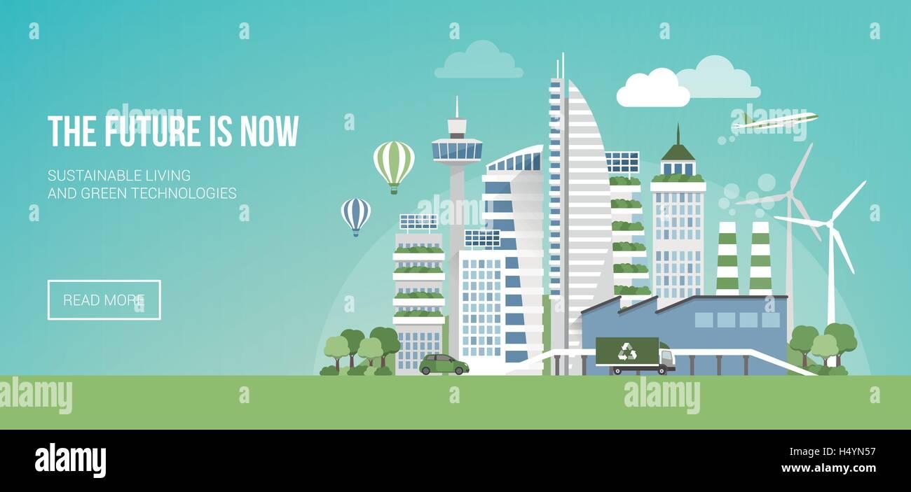 Futuristische grüne Stadt mit Windkraftanlagen und Wolkenkratzer, Nachhaltigkeit und Innovation-Konzept Stockbild