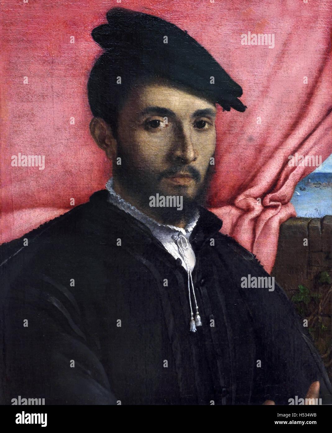 Porträt eines jungen Mannes 1526 Lorenzo Lotto 1480 ? 1556/57 italienischer Maler venezianische Schule, Italien Stockbild