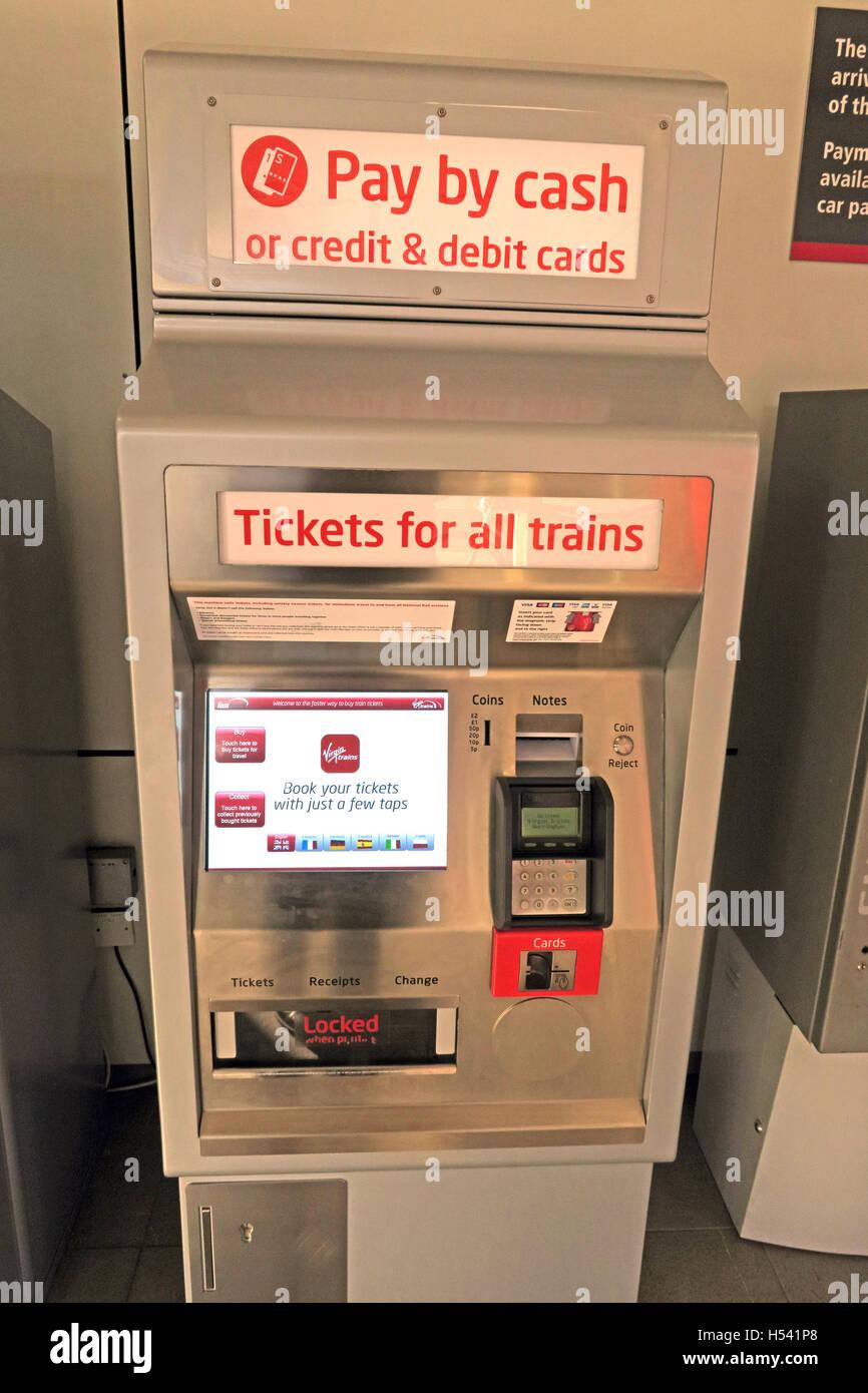 Laden Sie dieses Alamy Stockfoto SB-Schiene Fahrkartenautomat für britische Züge, Warrington, Cheshire, UK - H541P8