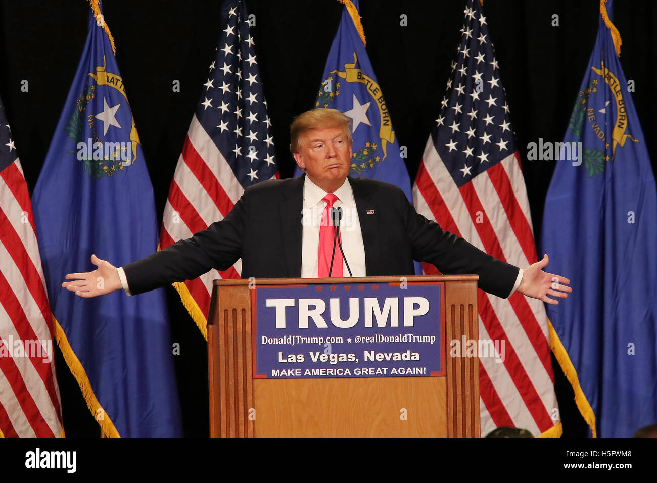 Trump anlässlich einer Kundgebung im South Point Resort and Casino am 21. Januar 2016 in Las Vegas Nevada. Stockbild
