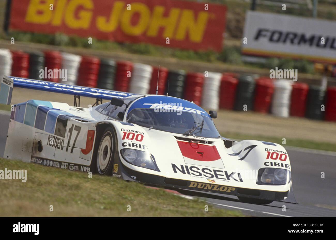 George Fouché und Steven Andskar Porsche 962 C GTi von Brun Motorsport Vertrauen Racing Team1990 eingegeben Stockbild