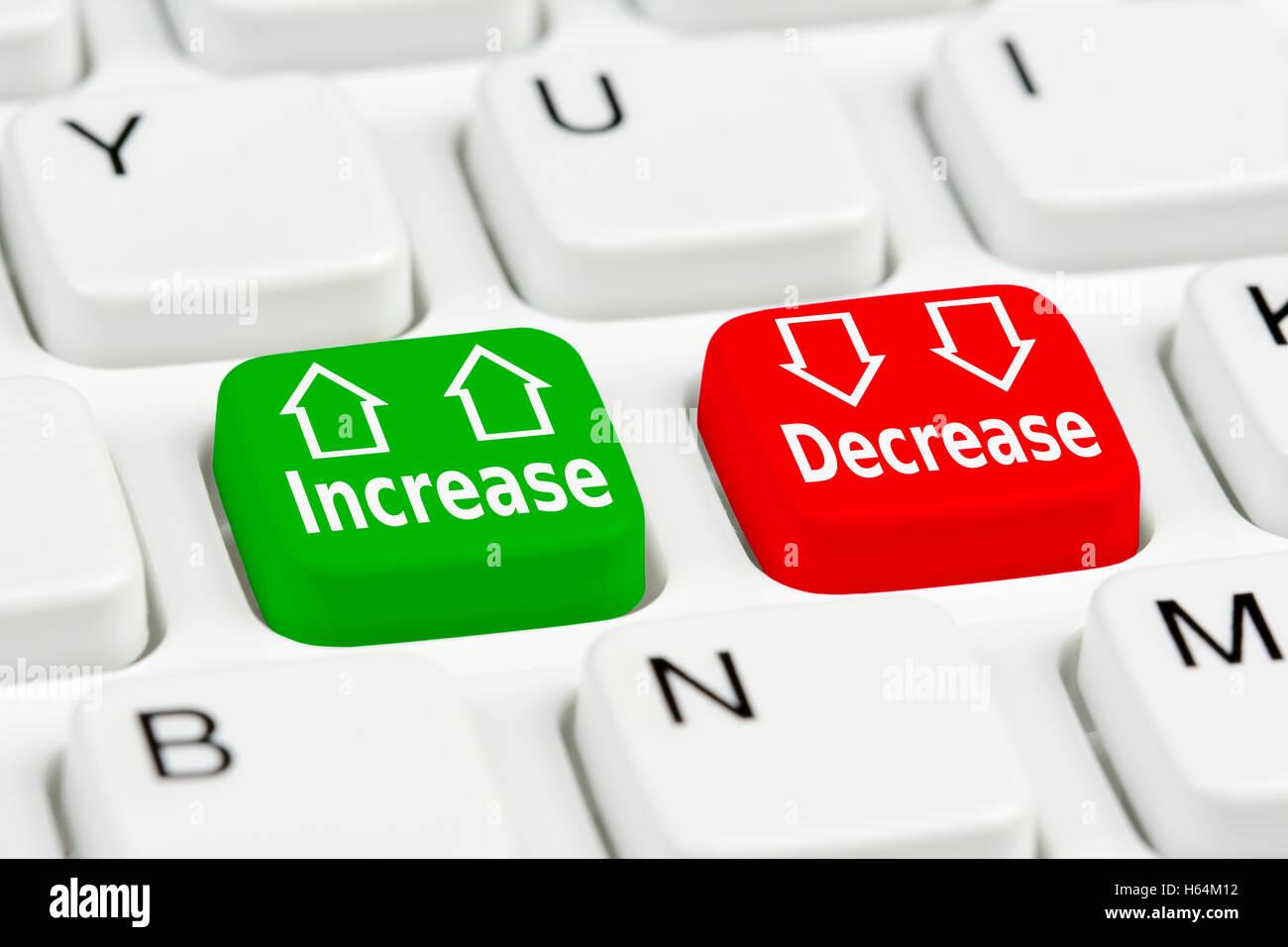 Erhöhen Sie oder verringern Sie Optionsfelder. Zinssätze. Stockbild