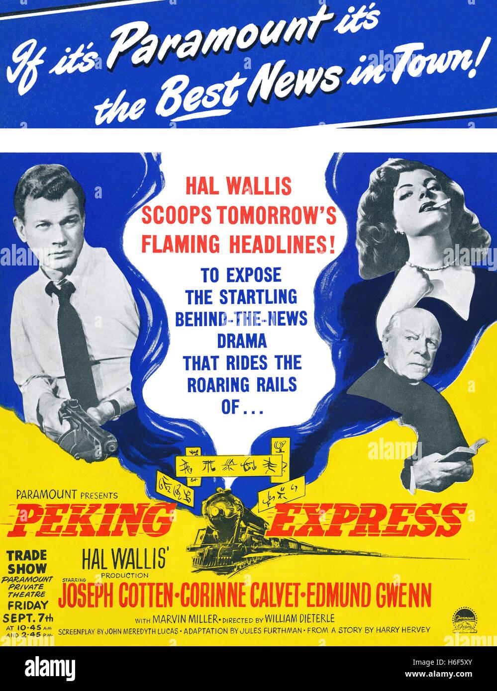 Britische Werbung für den Film 1951 Peking Express mit Joseph Cotten, Corinne Calvet und Edmund Gwenn Stockbild