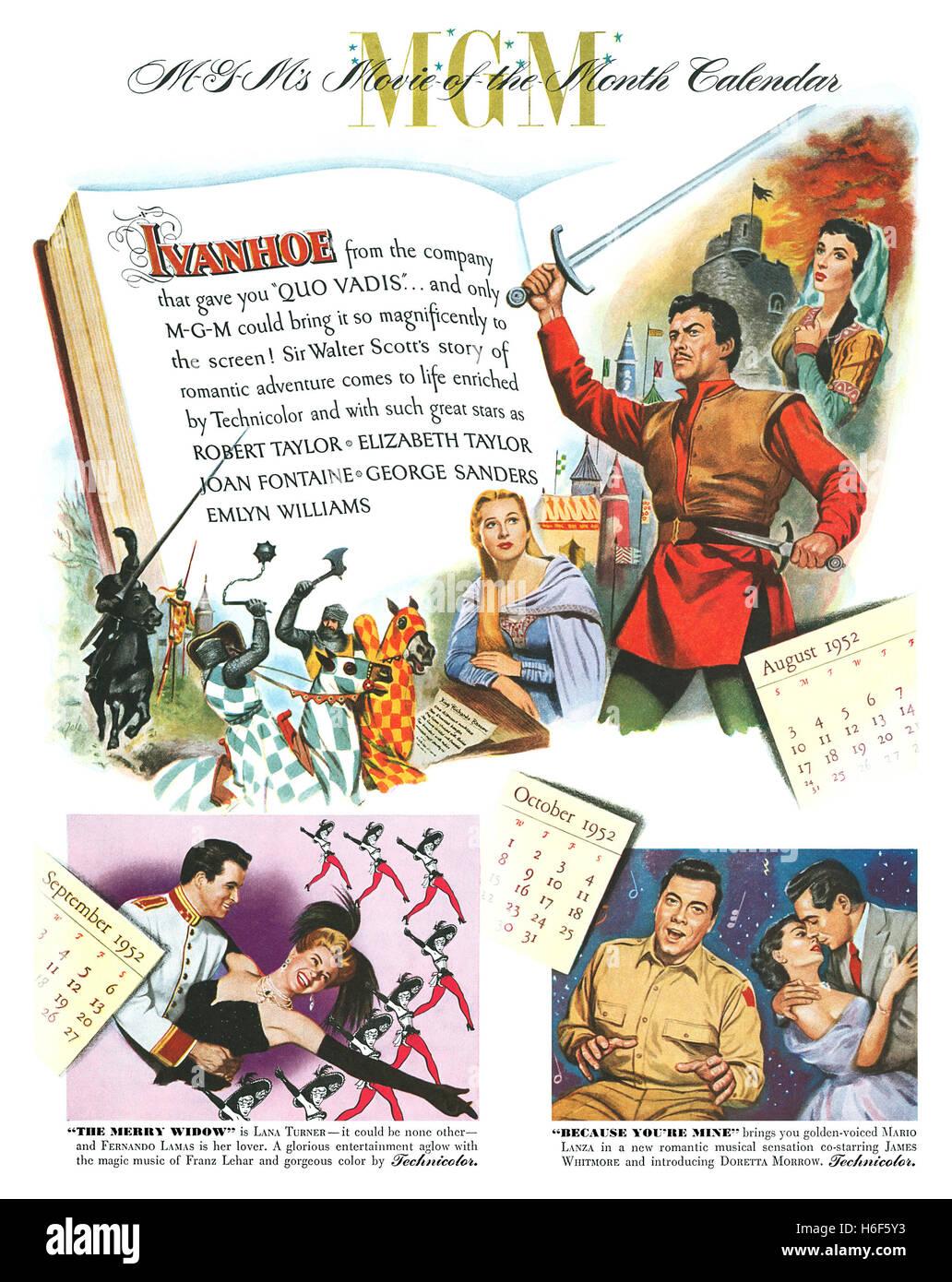 1952 US-Werbung für MGM-Filme Stockbild