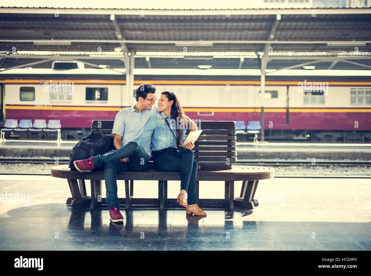 Paar Reisekonzept Ziel Reise Zweisamkeit Stockbild
