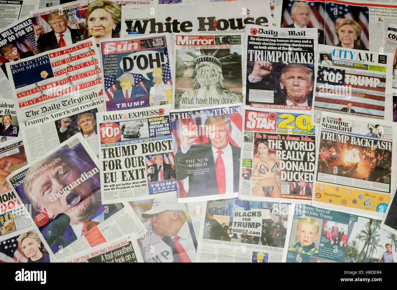 Britische Zeitung Titelseiten Berichterstattung über die US-Präsidentschaftswahl Ergebnis Donald Trump Stockbild