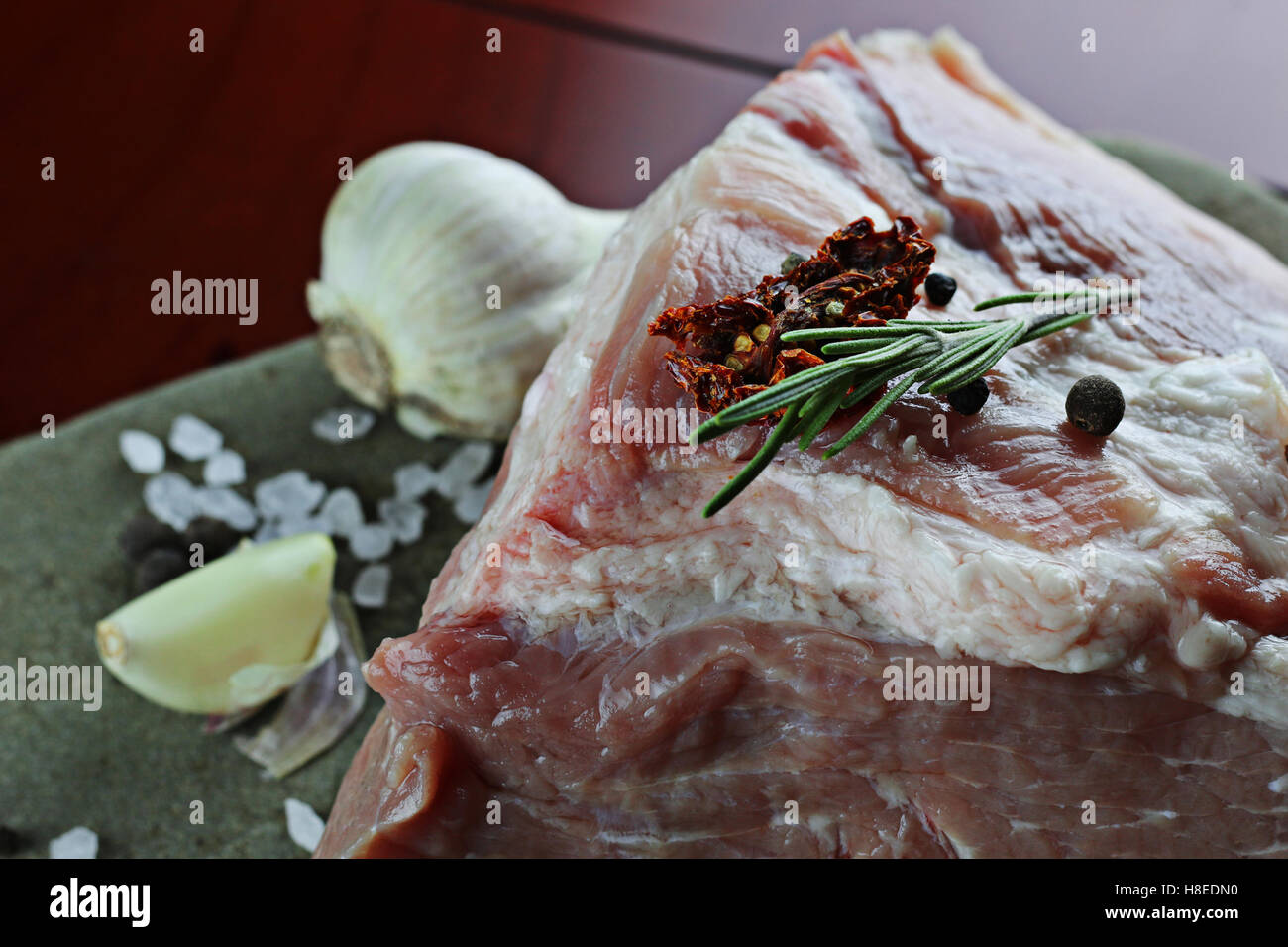 Fleisch roher Gewürze Pfeffer Stockbild