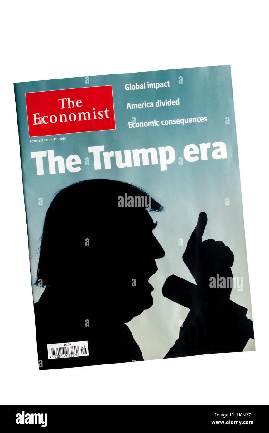 Abdeckung der economist nach Donald Trump die Wahl der 45. Präsident der USA zu werden gewonnen. Stockbild