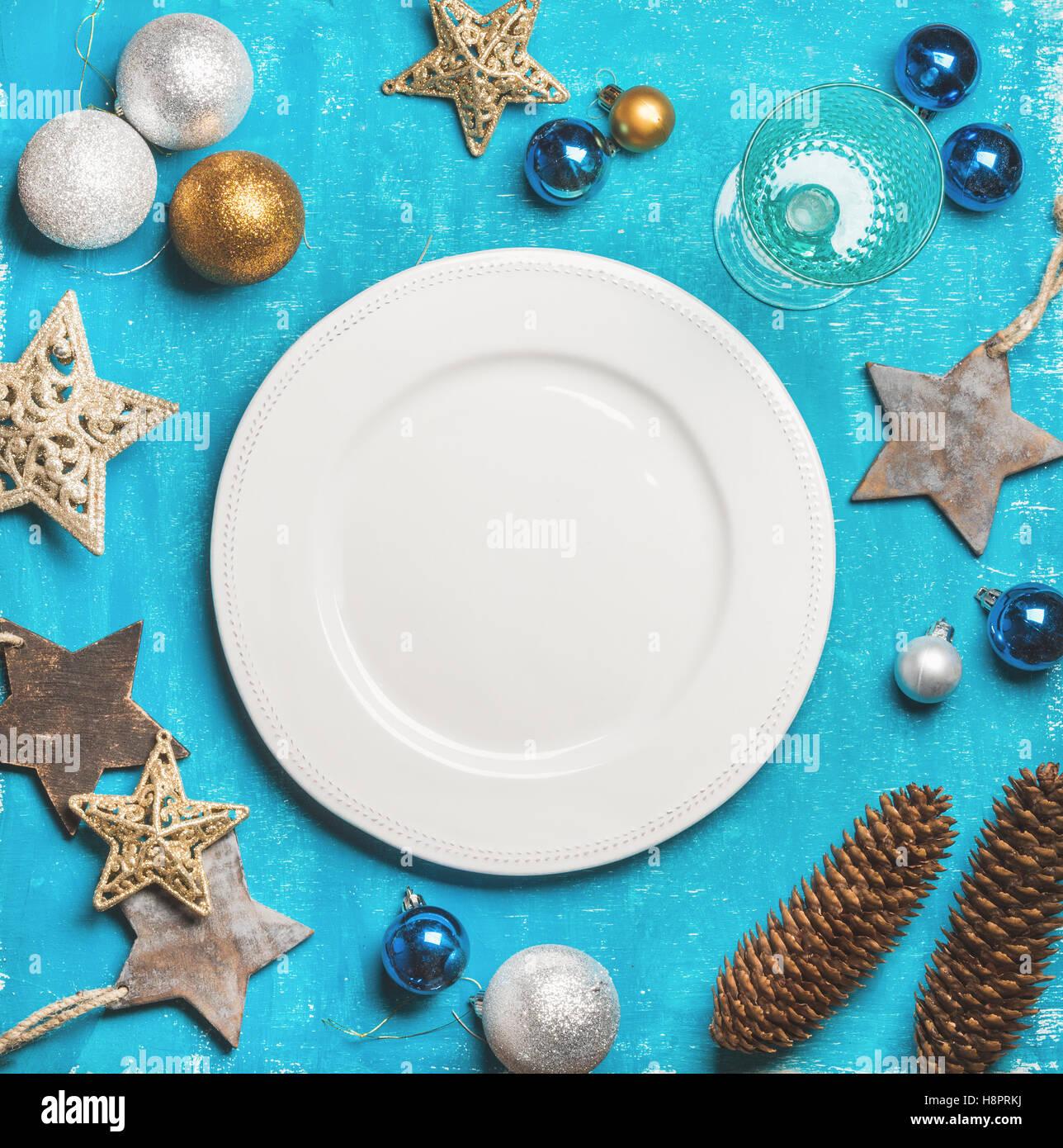 Weihnachten, Neujahr Urlaub Hintergrund mit weißer Teller, Textfreiraum Stockbild