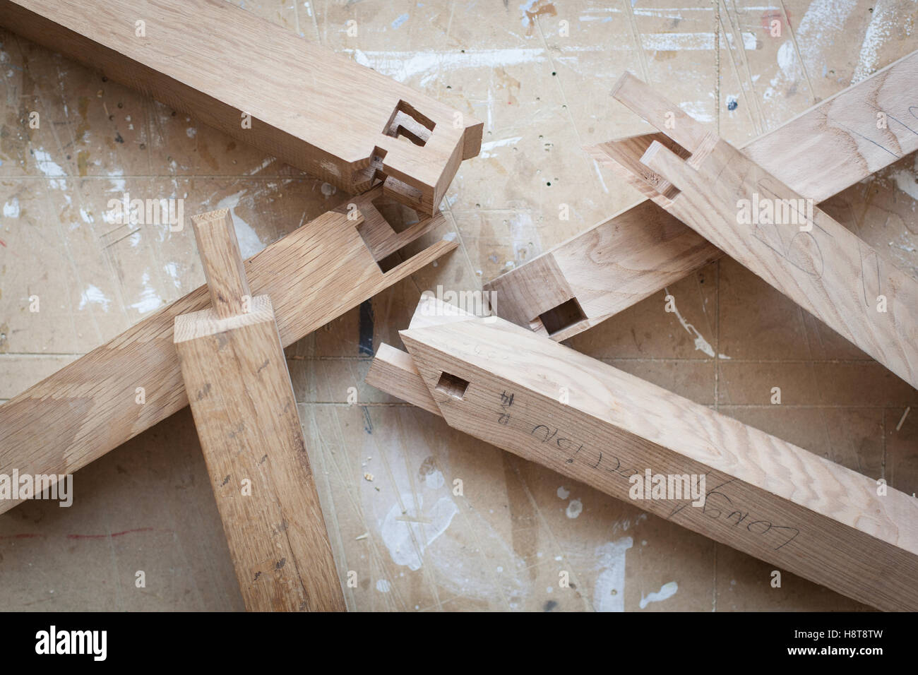 Detail einer maßgeschneiderten Tischler-Tischlerei Stockbild