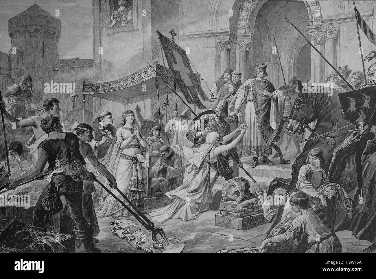 die Tortur Feuer Test von Saint Cunigunde von Luxemburg auch genannt Cunegundes, Cunegunda und Cunegonda und in Stockbild