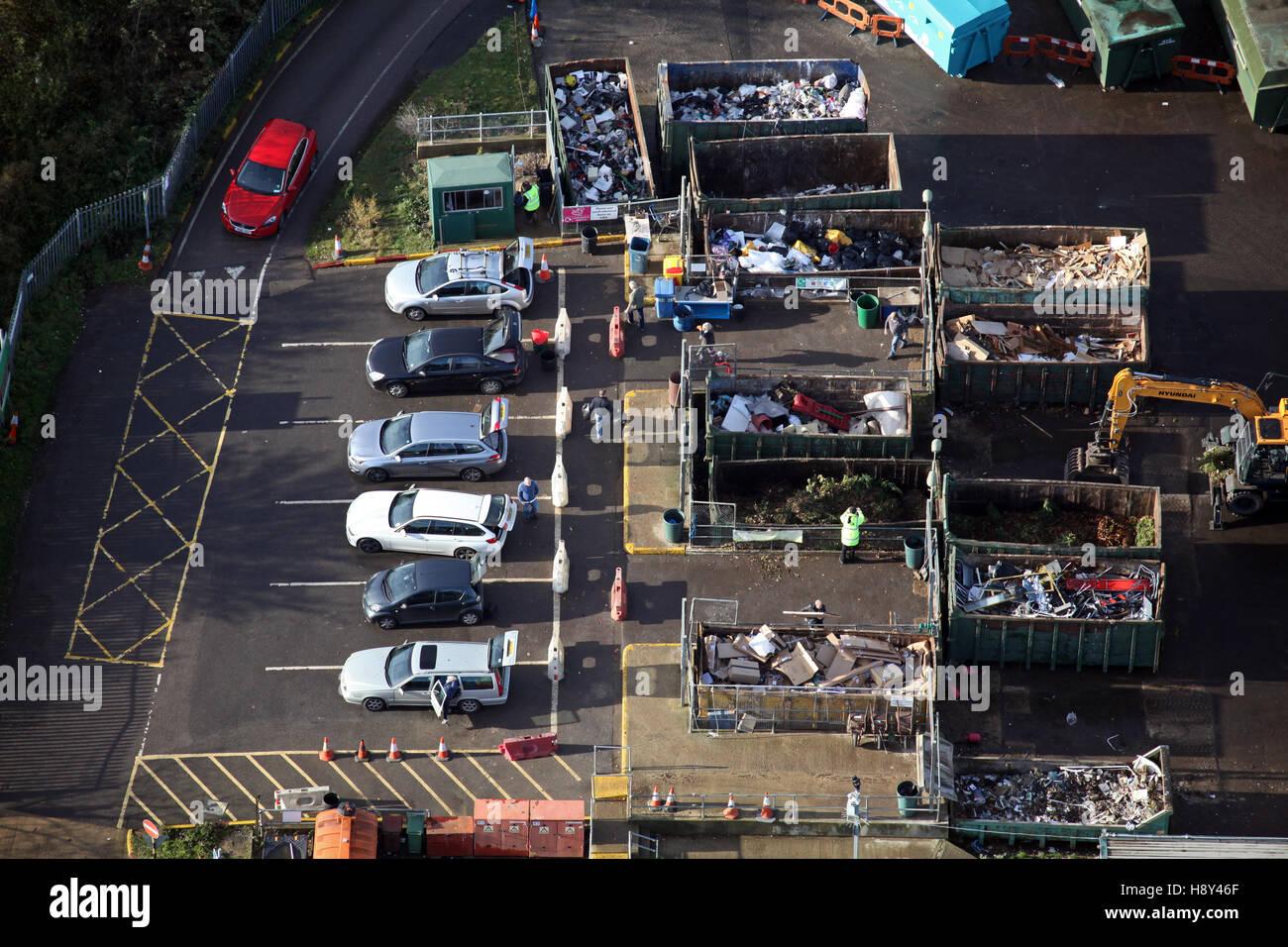 Luftaufnahme des inländischen Hausmüll recycling-Anlage in Großbritannien Stockbild