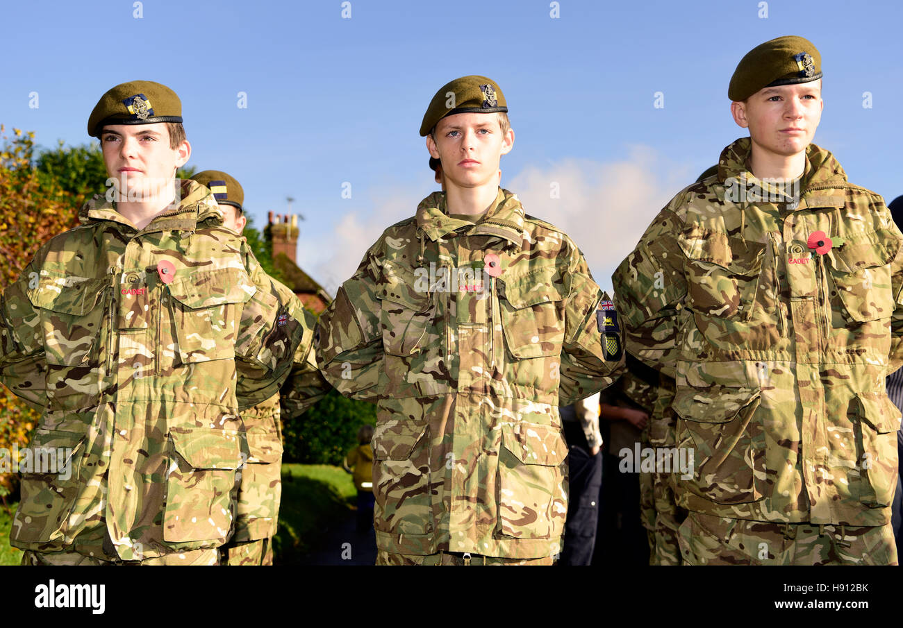 Armee-jüngstere Söhne besuchen Remembrance Sunday, Haslemere, Großbritannien. 13. November 2016. Stockbild