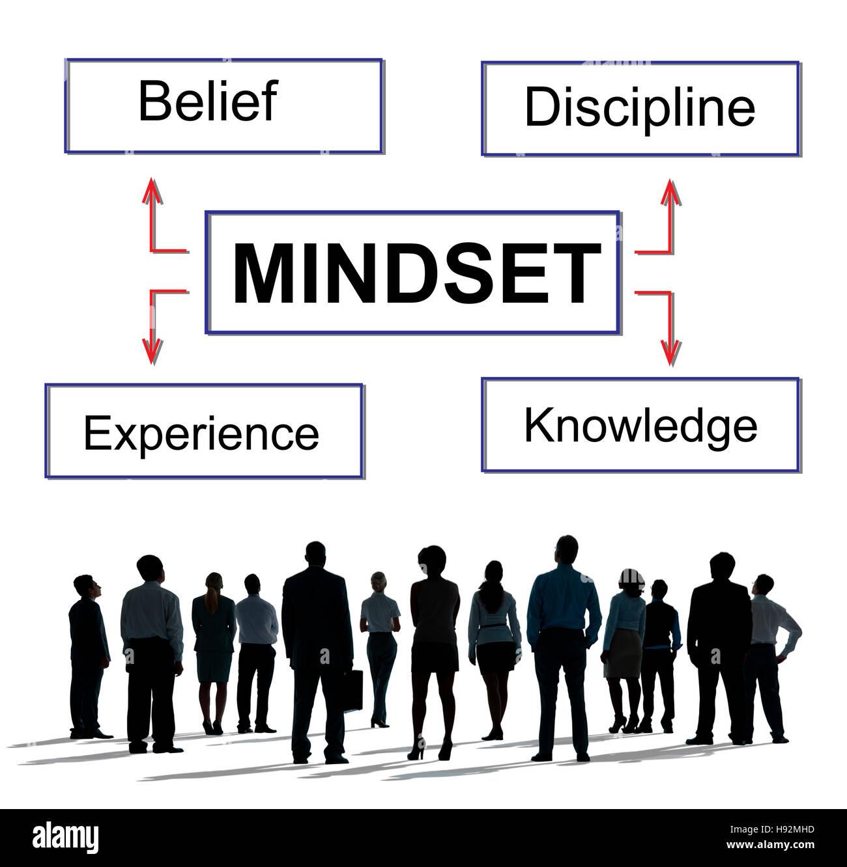 Denkweise glauben Disziplin Erlebniskonzept wissen Stockbild