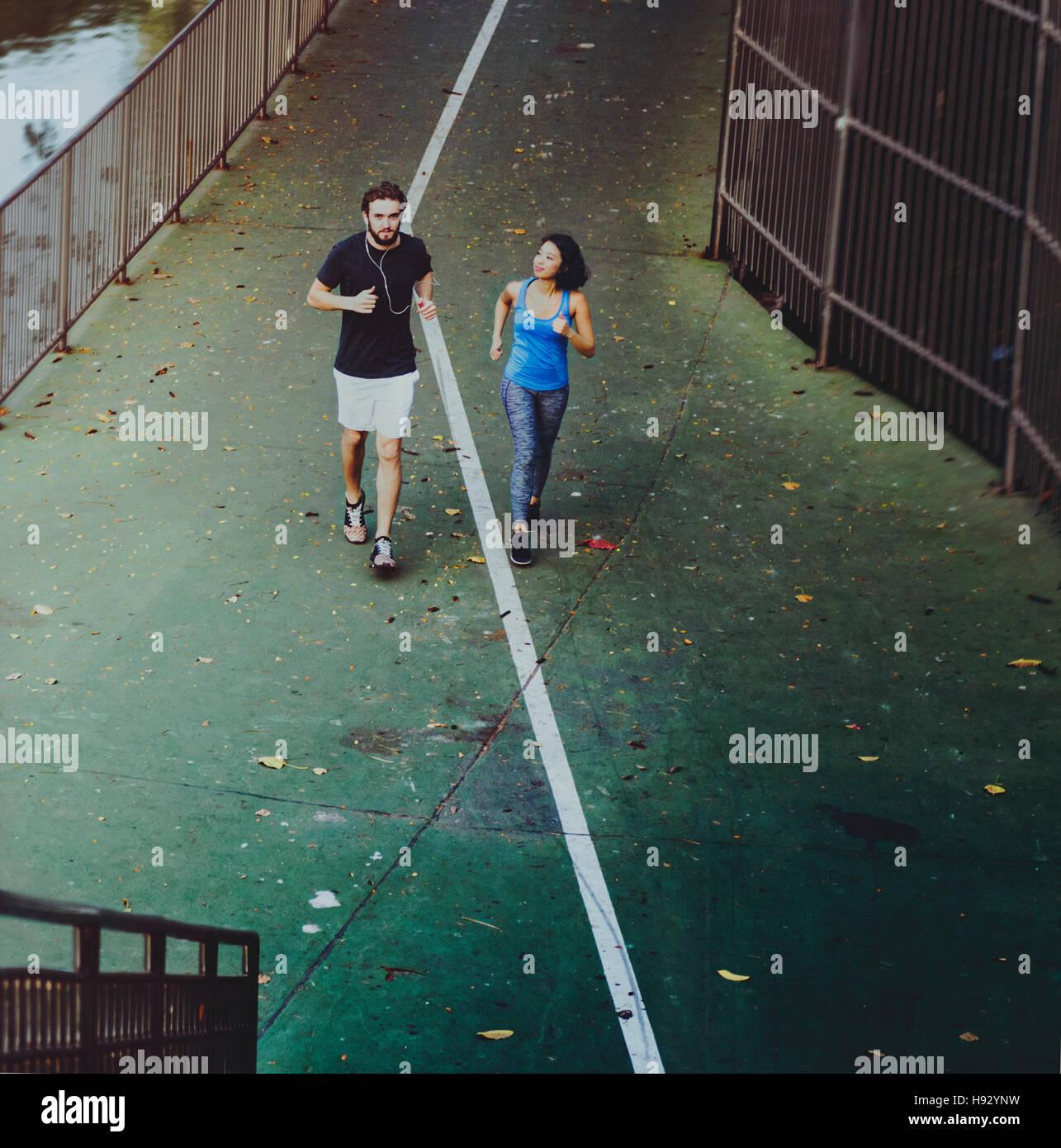 Paar attraktive Athlet Lifestyle-Sport-Training-Konzept Stockbild