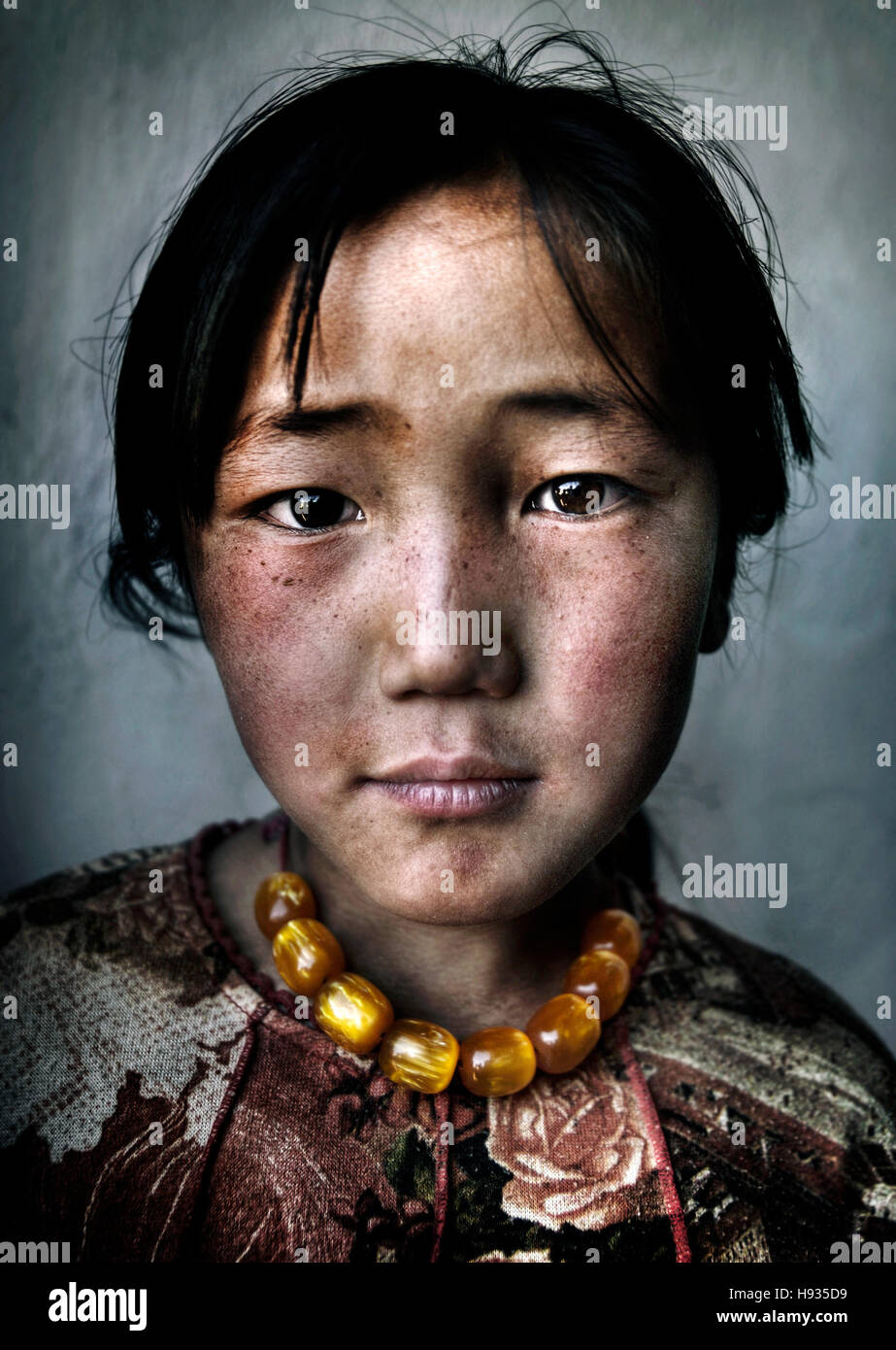 Mongolische Mädchen Portrait unschuldige Armut Kulturbegriff Stockbild