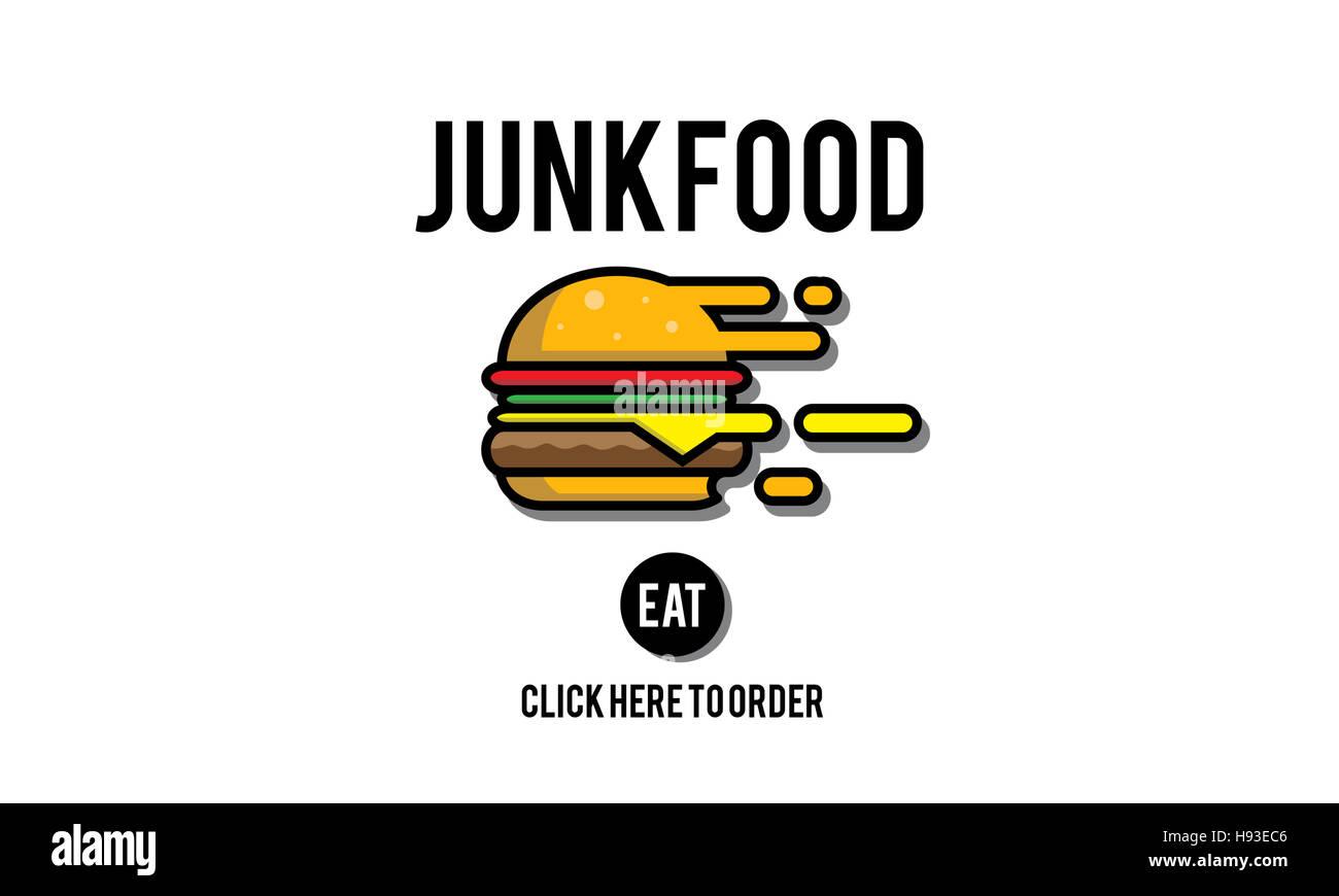 Junk-Food Fastfood ungesund Übergewicht-Konzept Stockbild