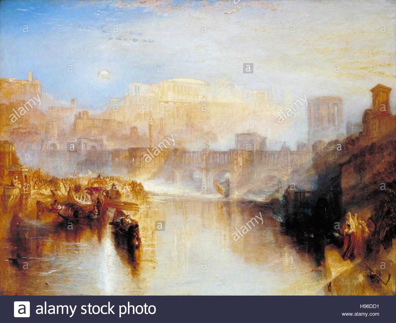 Joseph Mallord William Turner - antiken Rom; Agrippina die Landung mit der Asche des Germanicus Stockbild