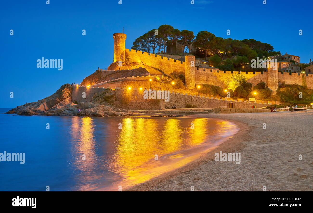 Mmedieval Burg von Tossa del Mar, Costa Brava, Katalonien, Spanien Stockbild