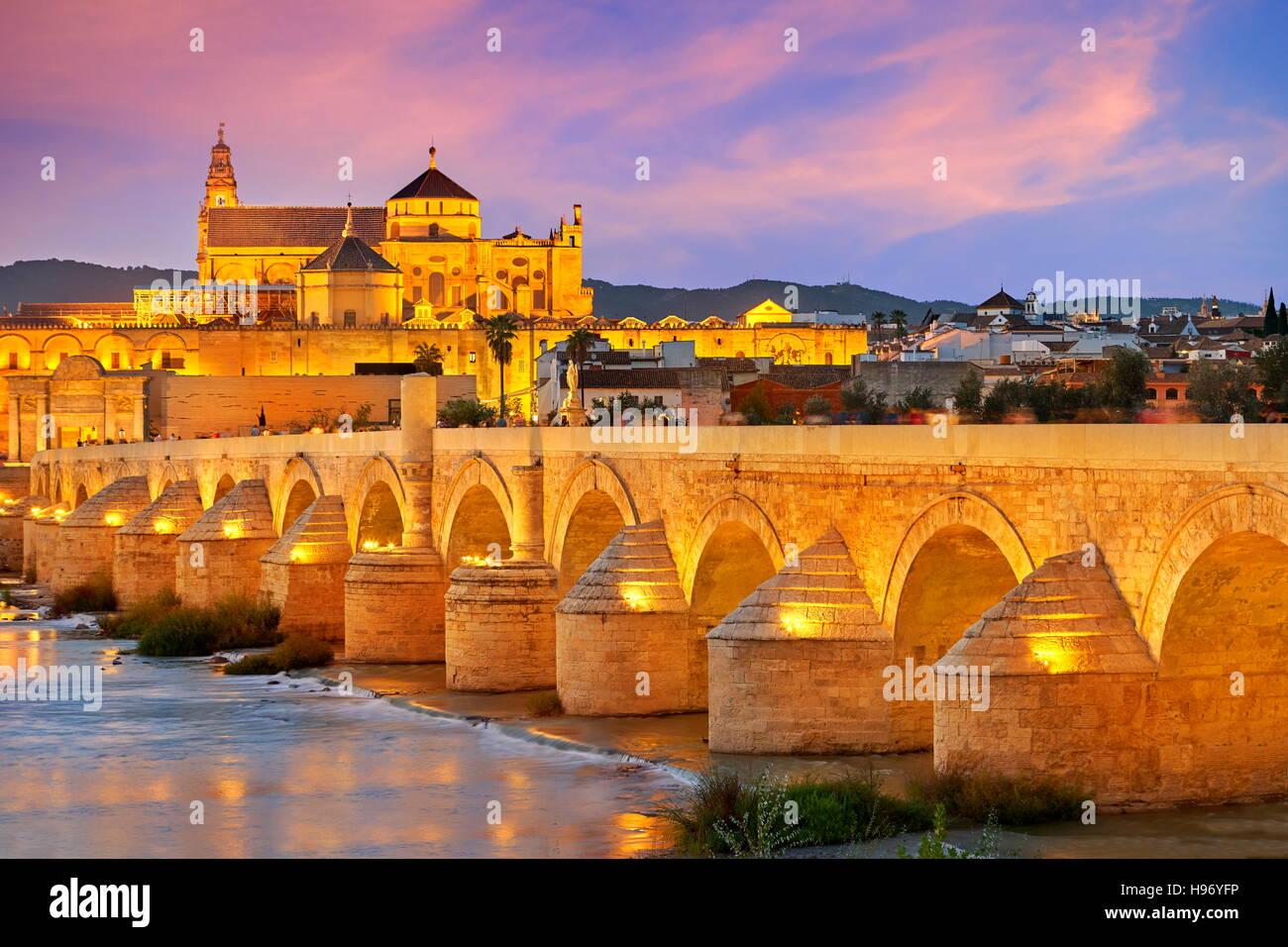 Spanien - Römerbrücke und Moschee von Cordoba, Andalusien, Cordoba Stockbild
