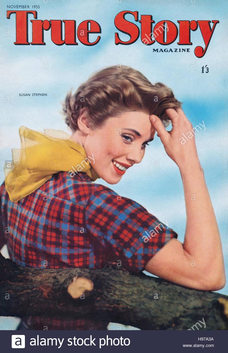 November 1955 Cover des Magazins mit der Schauspielerin Susan Stephen wahre Geschichte Stockbild
