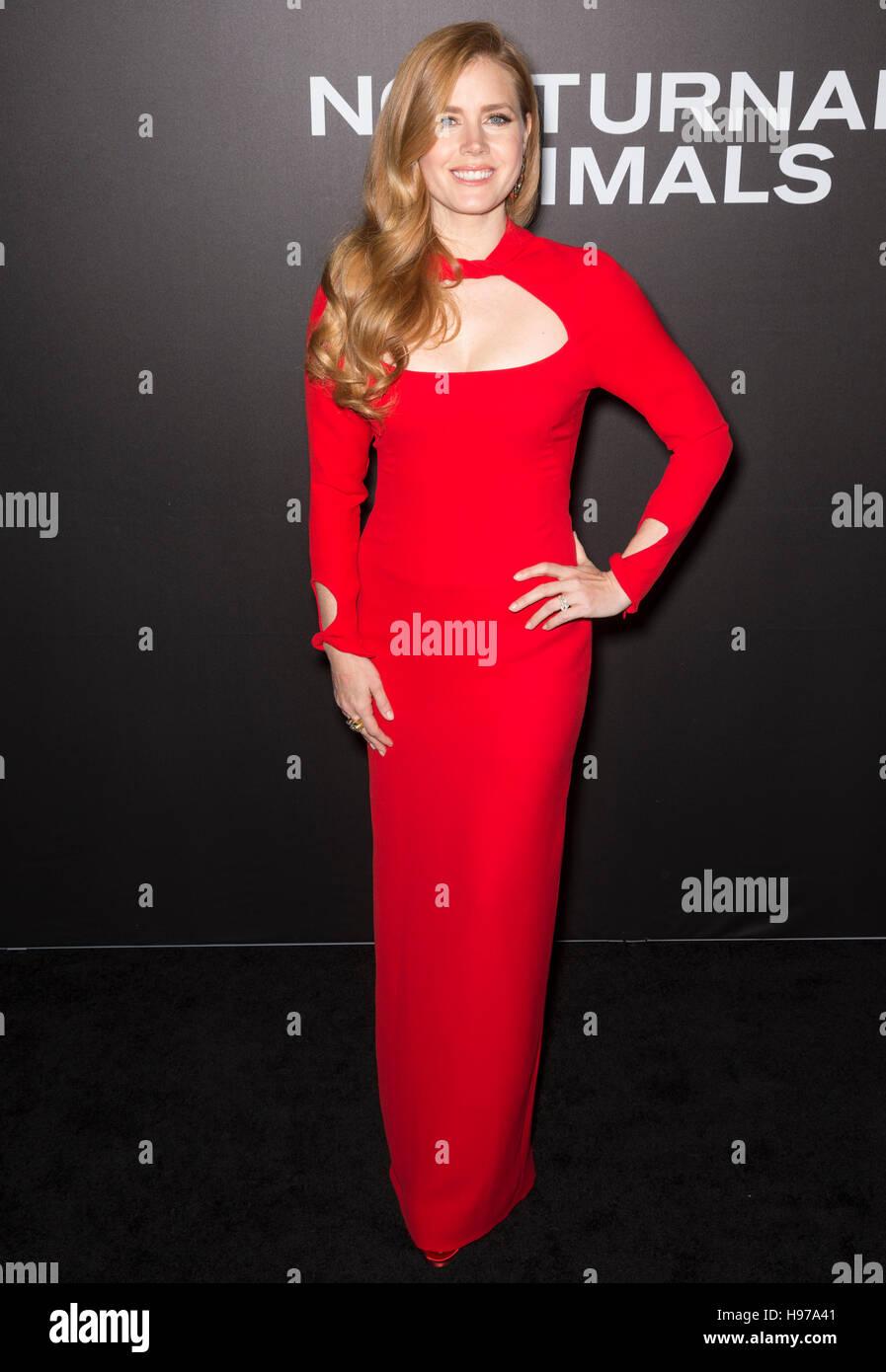 New York City, USA - 17. November 2016: Schauspielerin Amy Adams besucht die 'Nachttiere' NewYork-Premiere Stockbild