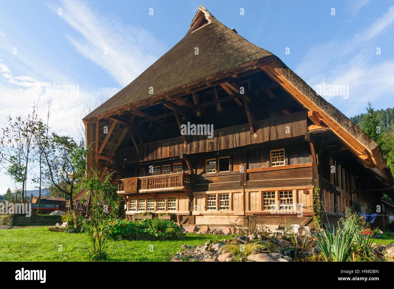 Gutach (Schwarzwaldbahn): Alte reetgedeckte Schwarzwald Haus, Schwarzwald, Schwarzwald, Baden-Württemberg, Stockbild