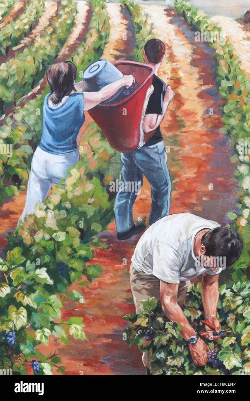 Bemalten Wand zur Veranschaulichung der Weinlese im Beaujolais, Frankreich Stockbild