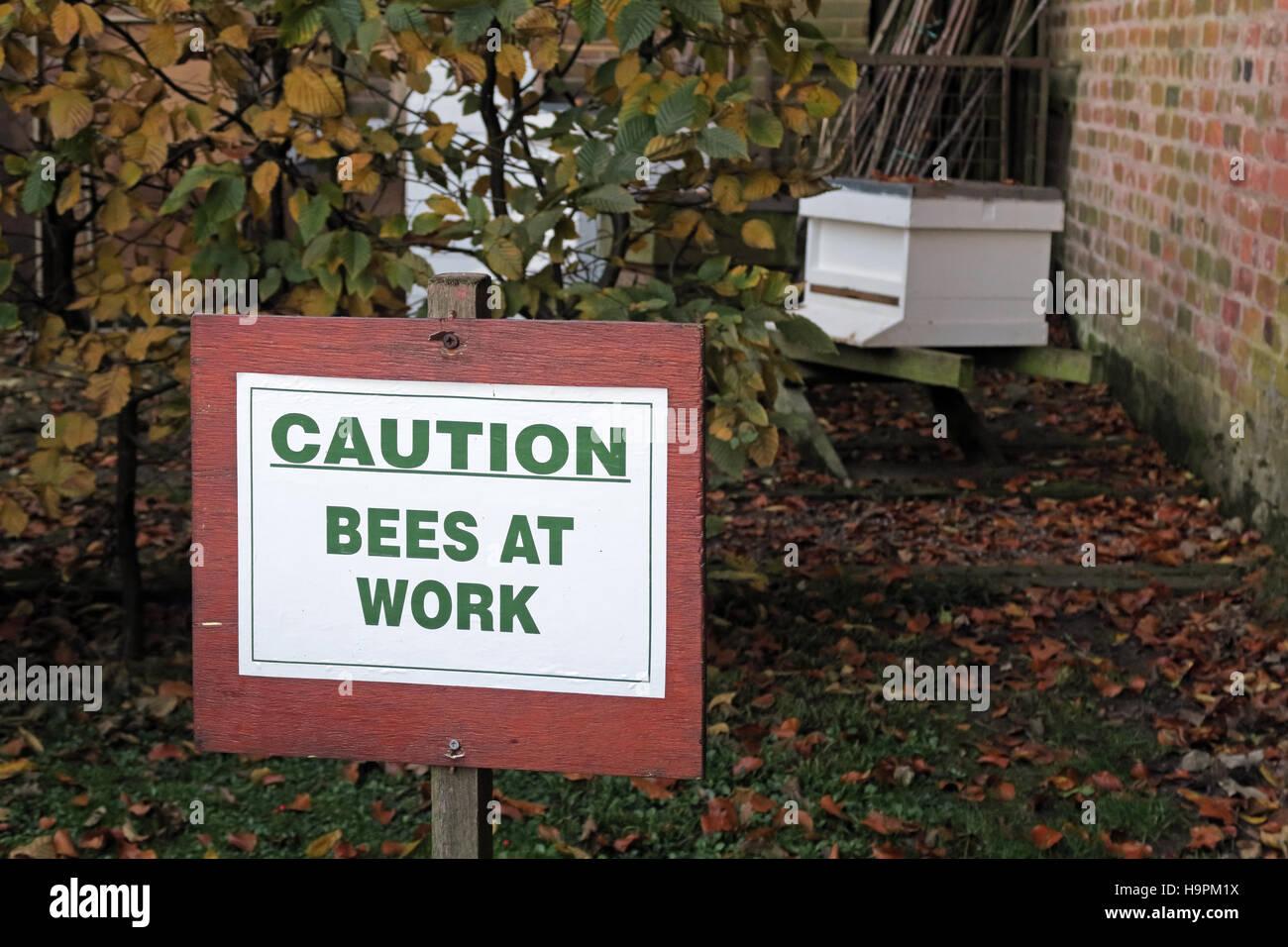Laden Sie dieses Alamy Stockfoto Vorsicht, Bienen am Werk-Schild in der Nähe von Hive, Herbst - H9PM1X