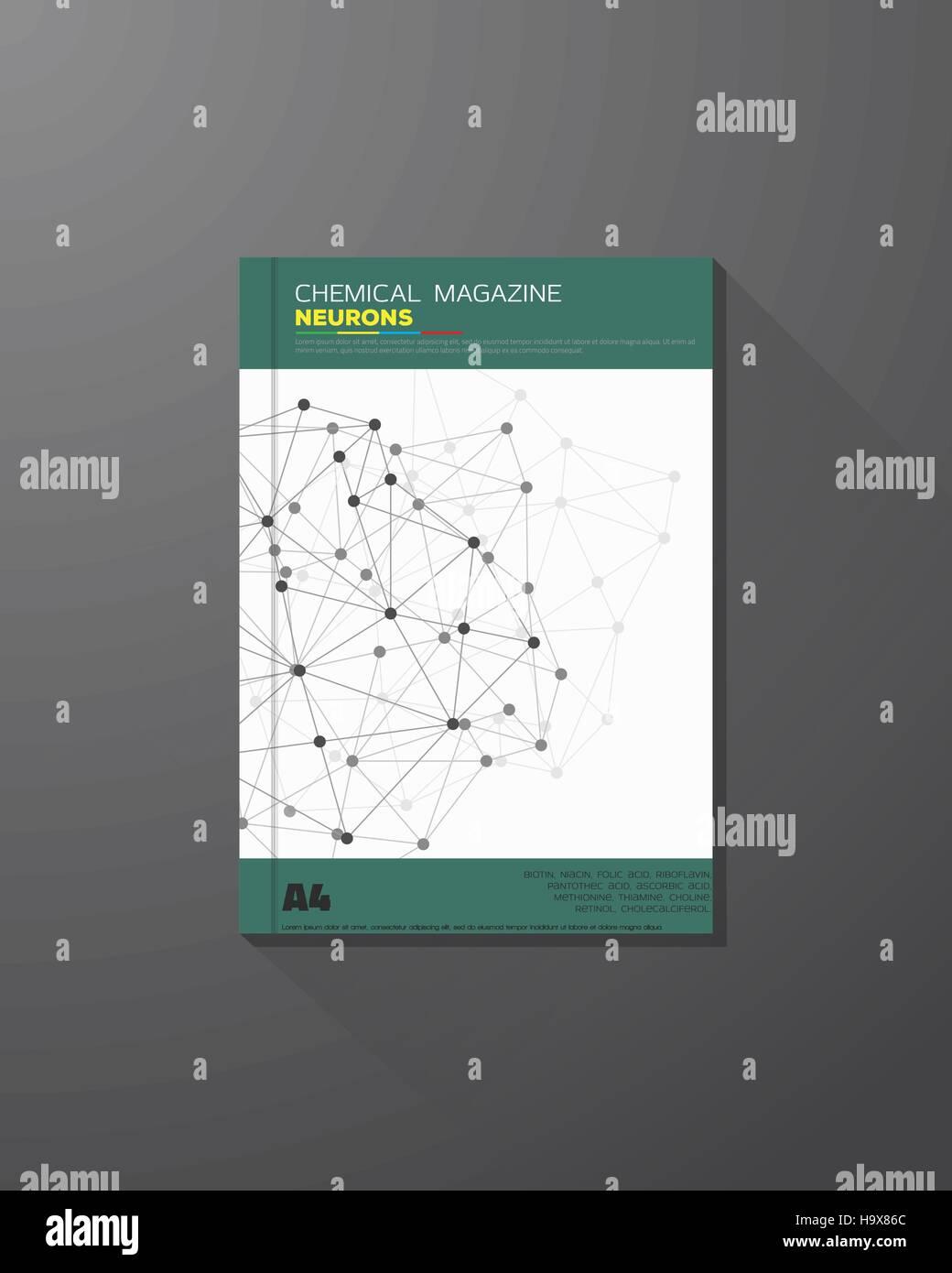 Abstrakte Wissenschaft und chemische Vektor Broschüre Design-Vorlage. Chemische Verbindungen, Linien und Punkte. Stockbild