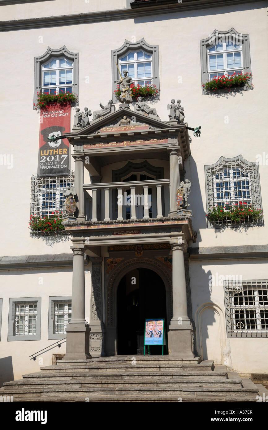 Portal des Rathauses, Wittenberg / Elbe, Sachsen-Anhalt, Deutschland, Europa Stockbild