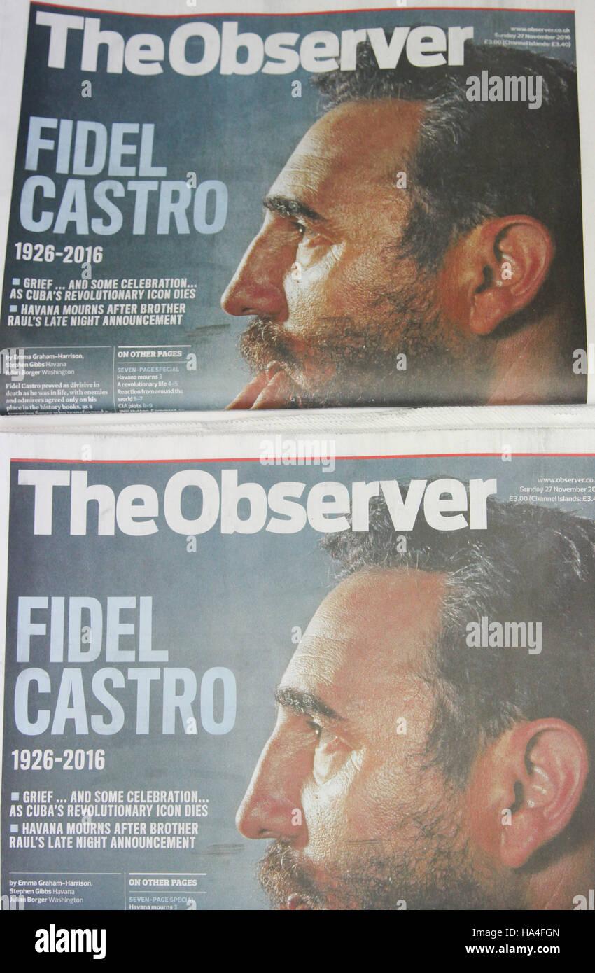 London, UK. 27. November 2016. Der Beobachter Titelgeschichte von Fidel Castros Tod © Dinendra Haria/Alamy Stockbild