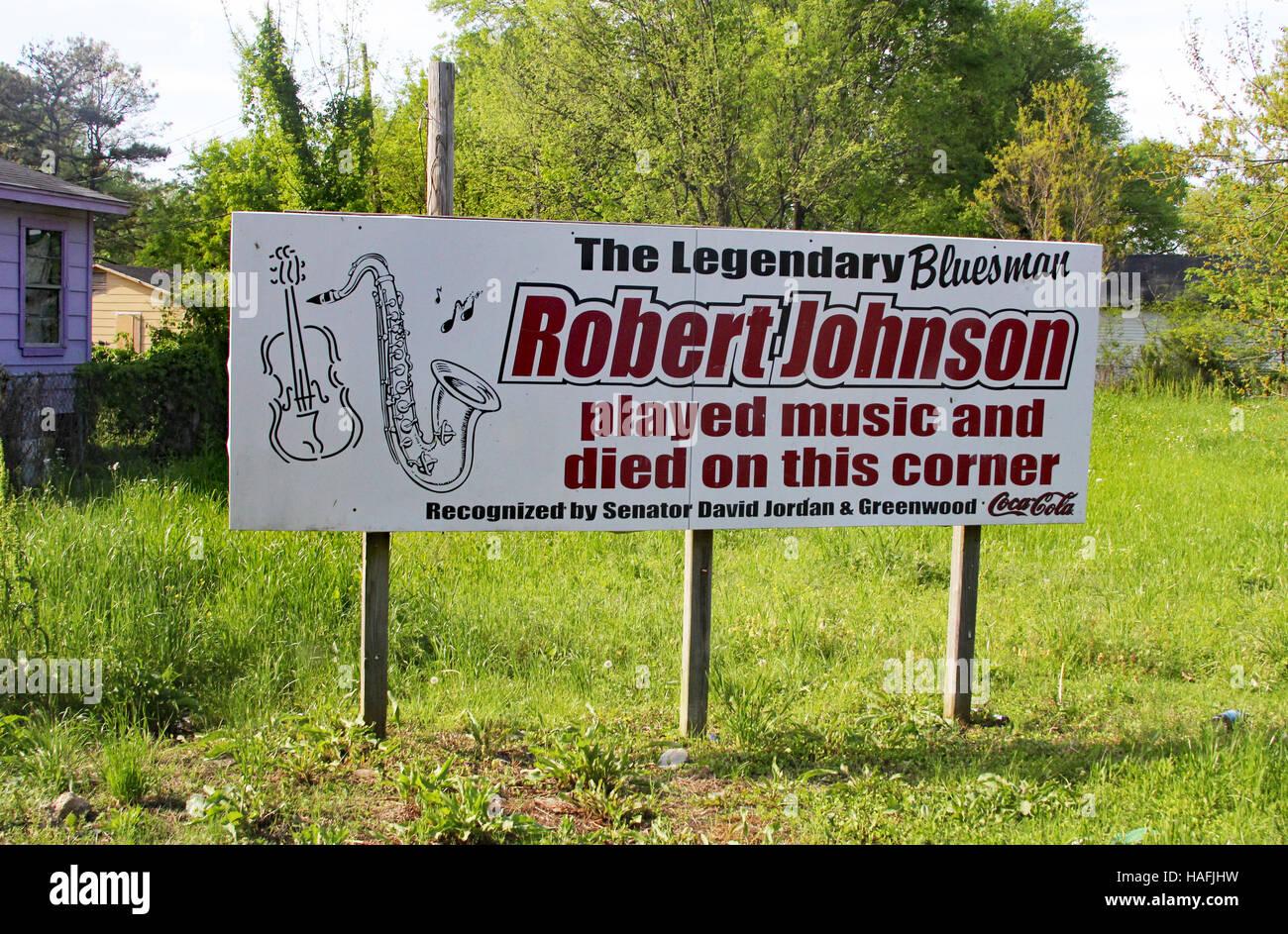 Blues große Robert Johnson wurde gesagt, um an dieser Ecke in Baptist Stadt Greenwood, Mississippi gestorben Stockbild