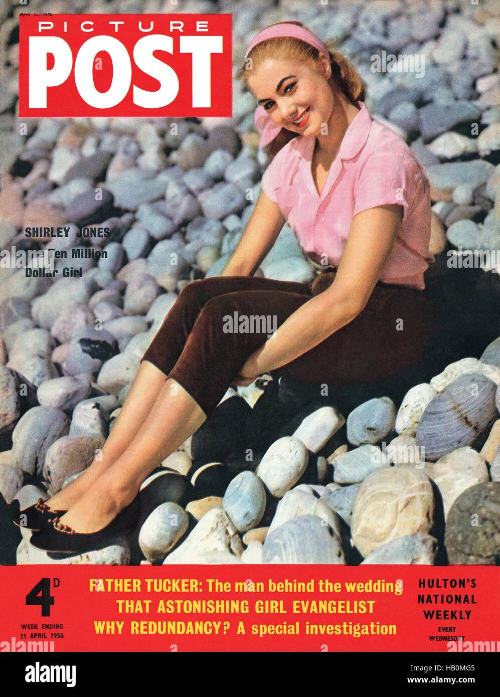 Vordere Abdeckung des Picture Post Magazin für 21. April 1956 mit Schauspielerin Shirley Jones Stockbild