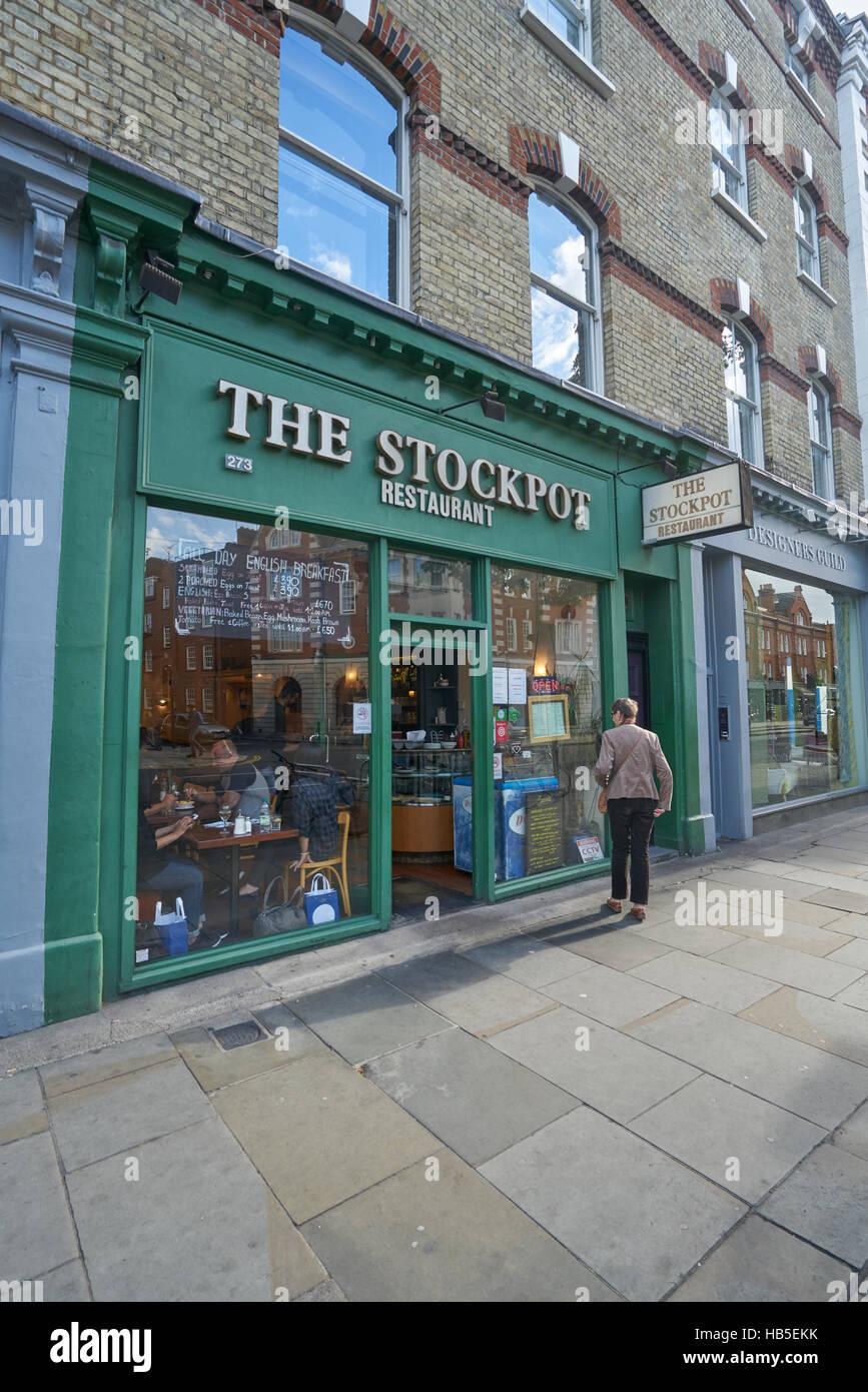 der Suppentopf Chelsea, billiges Restaurant, London Stockbild