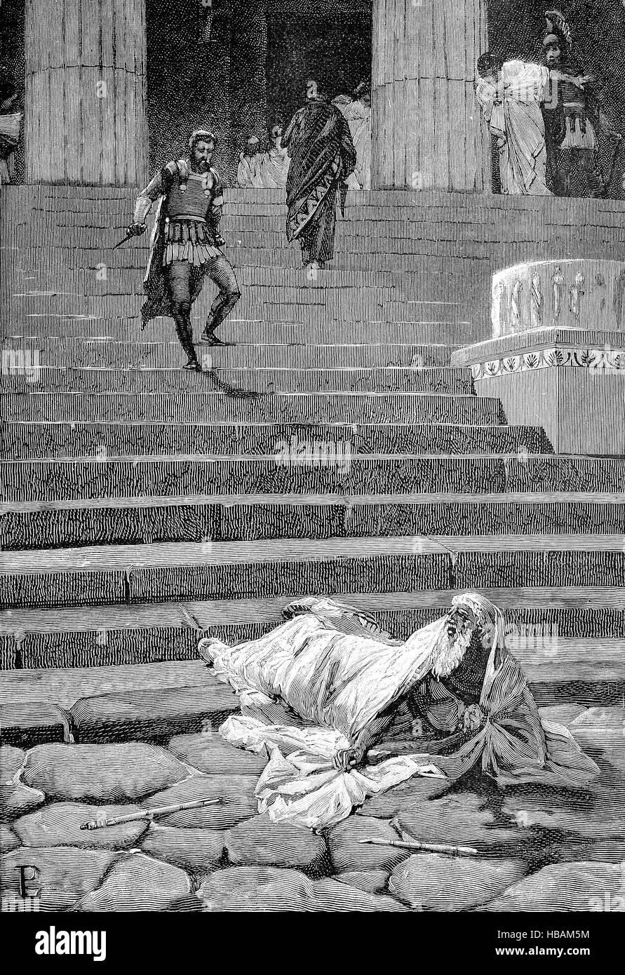 tot von Servius Tullius, der legendären sechsten König von Rom, historische Darstellung aus dem Jahr 1880 Stockbild