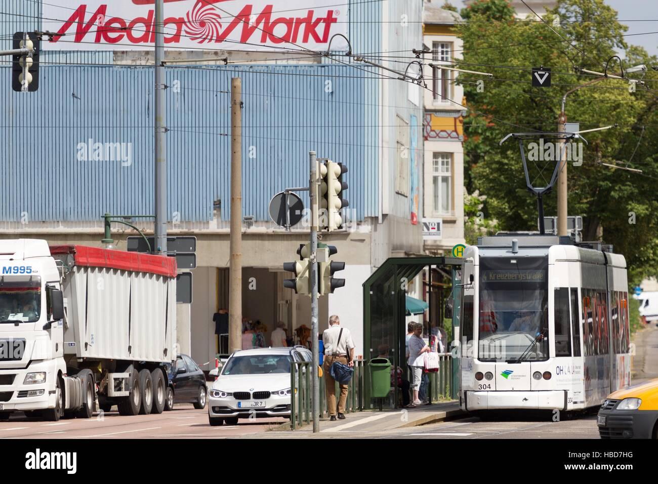 Dessau: Straßenbahn zur Kreuzberg-Straße Stockfoto