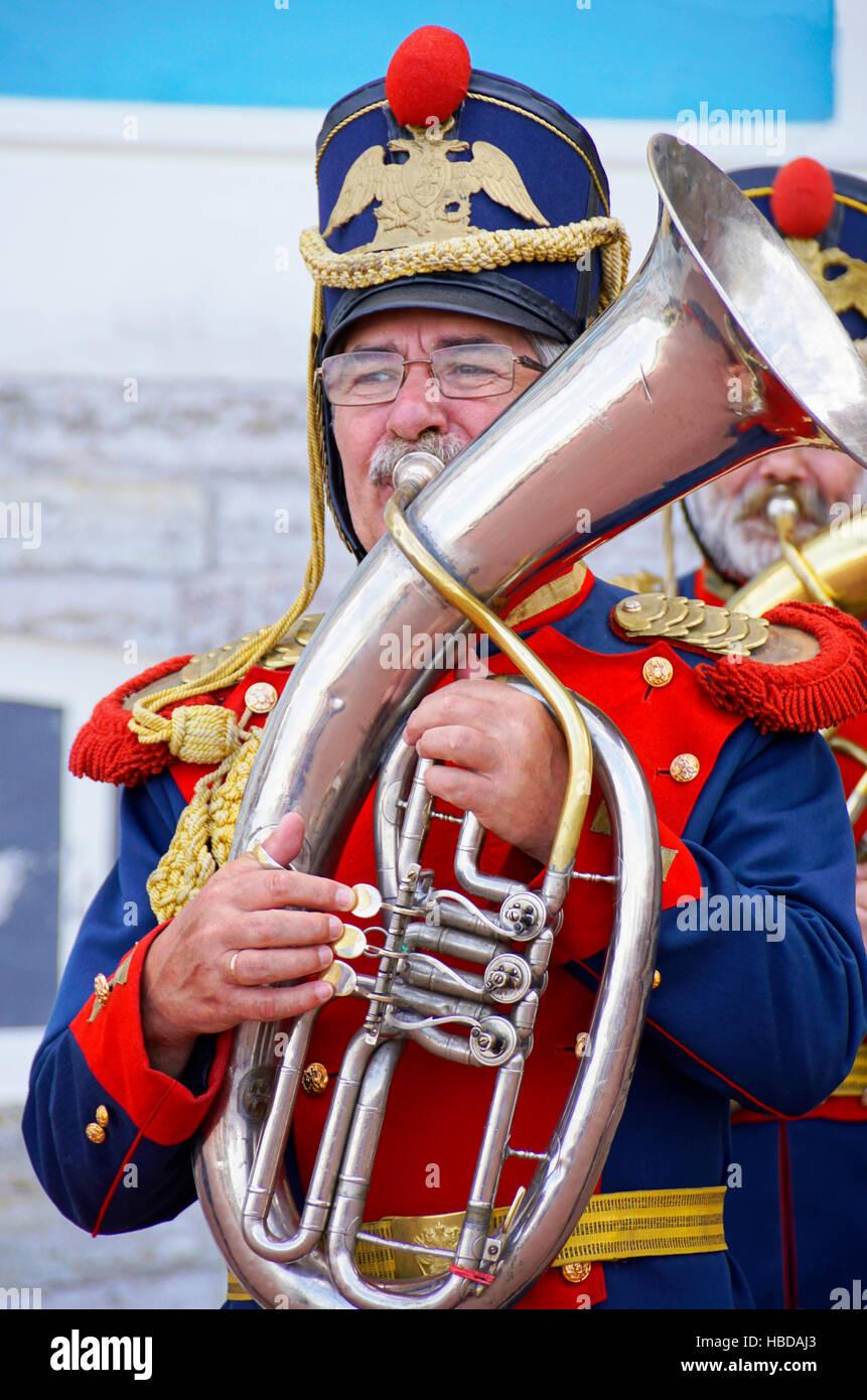 Musiker im russischen Imperial einheitlich im Katharinenpalast in St. Petersburg, Russland. Stockbild