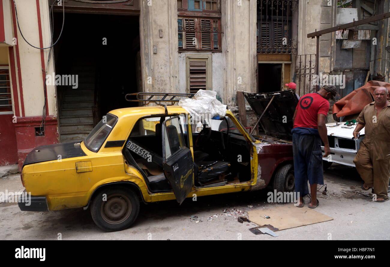Openair-Werkstatt, Havanna, Kuba Stockbild