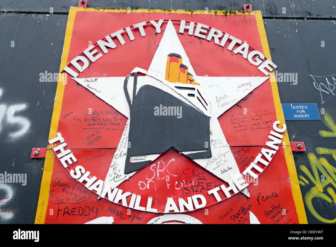 Laden Sie dieses Alamy Stockfoto Identität, Erbe, internationalen Frieden Wand, Cupar Weg, West Belfast, Nordirland, Vereinigtes Königreich - HDEYW7