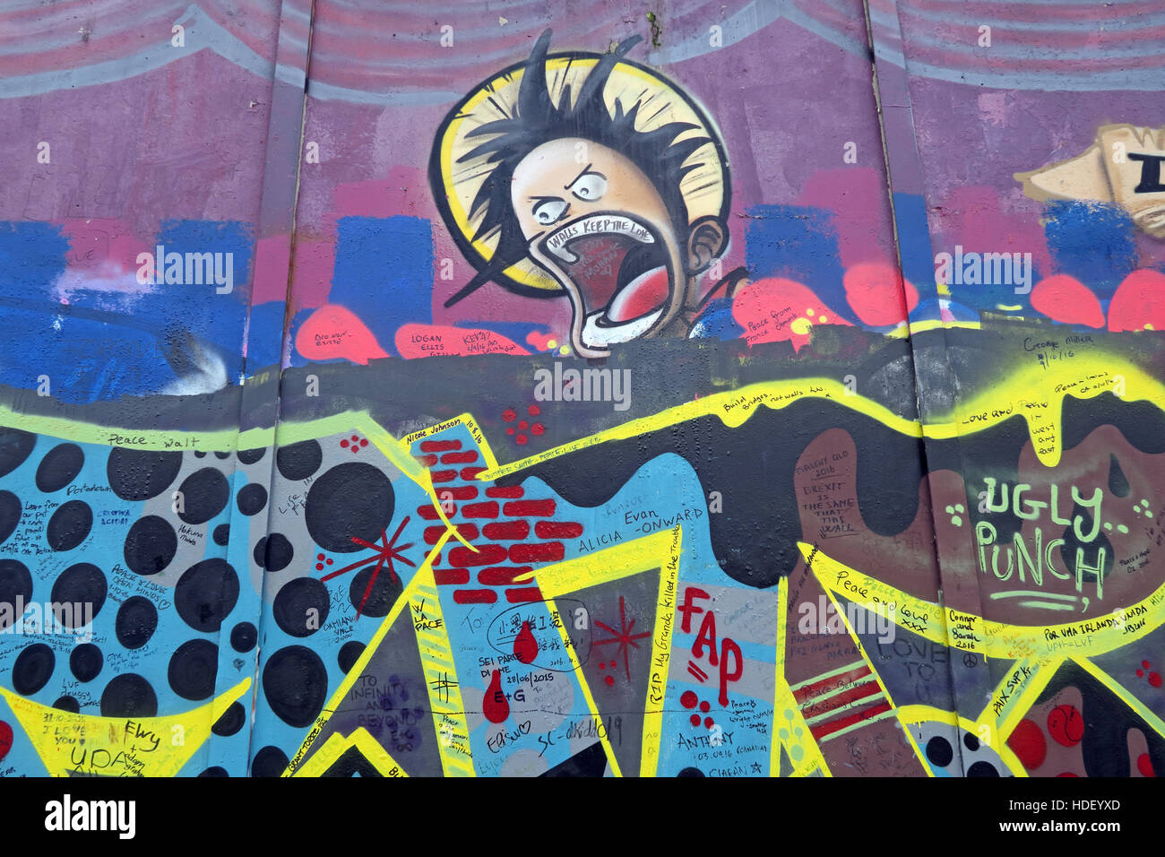 Laden Sie dieses Alamy Stockfoto Gesicht auf internationalen Frieden Wand, Cupar Weg, West Belfast, Nordirland, Vereinigtes Königreich - HDEYXD