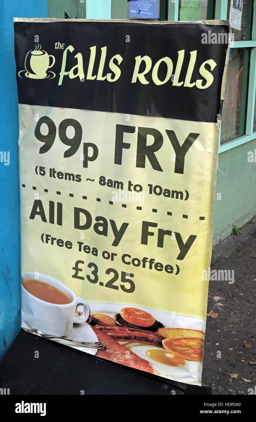 Laden Sie dieses Alamy Stockfoto Belfast Falls Rd - fällt Rolls Cafe, 99p Fry - HDF0A0