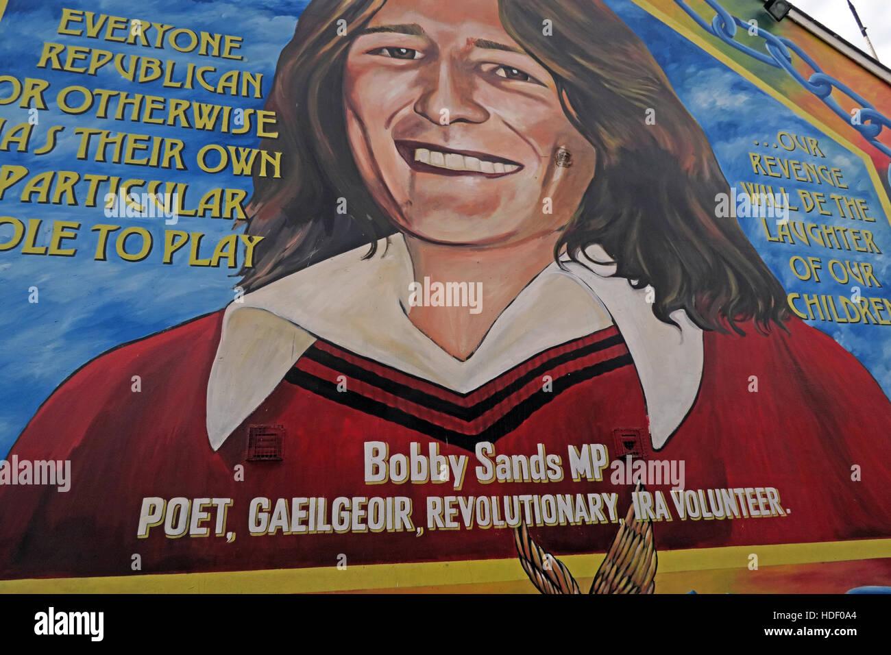 Laden Sie dieses Alamy Stockfoto Alle Republikaner. Belfast fällt Rd Wandbild-Bobby Sands MP, Dichter, Gaeilgeoir, revolutionär, IRA Volunteer - HDF0A4