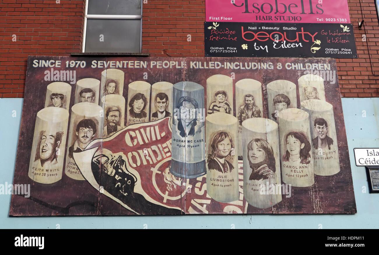 Laden Sie dieses Alamy Stockfoto Belfast fällt Rd republikanischen Wandbild - bürgerliche Ordnung Unordnung. Seit 1970 siebzehn Menschen getötet, darunter 8 Kinder - HDPM11