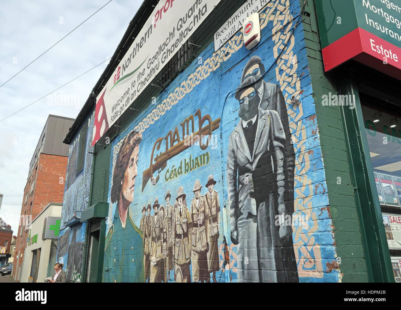 Laden Sie dieses Alamy Stockfoto Belfast fällt Rd republikanischen Wandbild am Beechmount Ave, weibliche Widerstand - HDPM2B