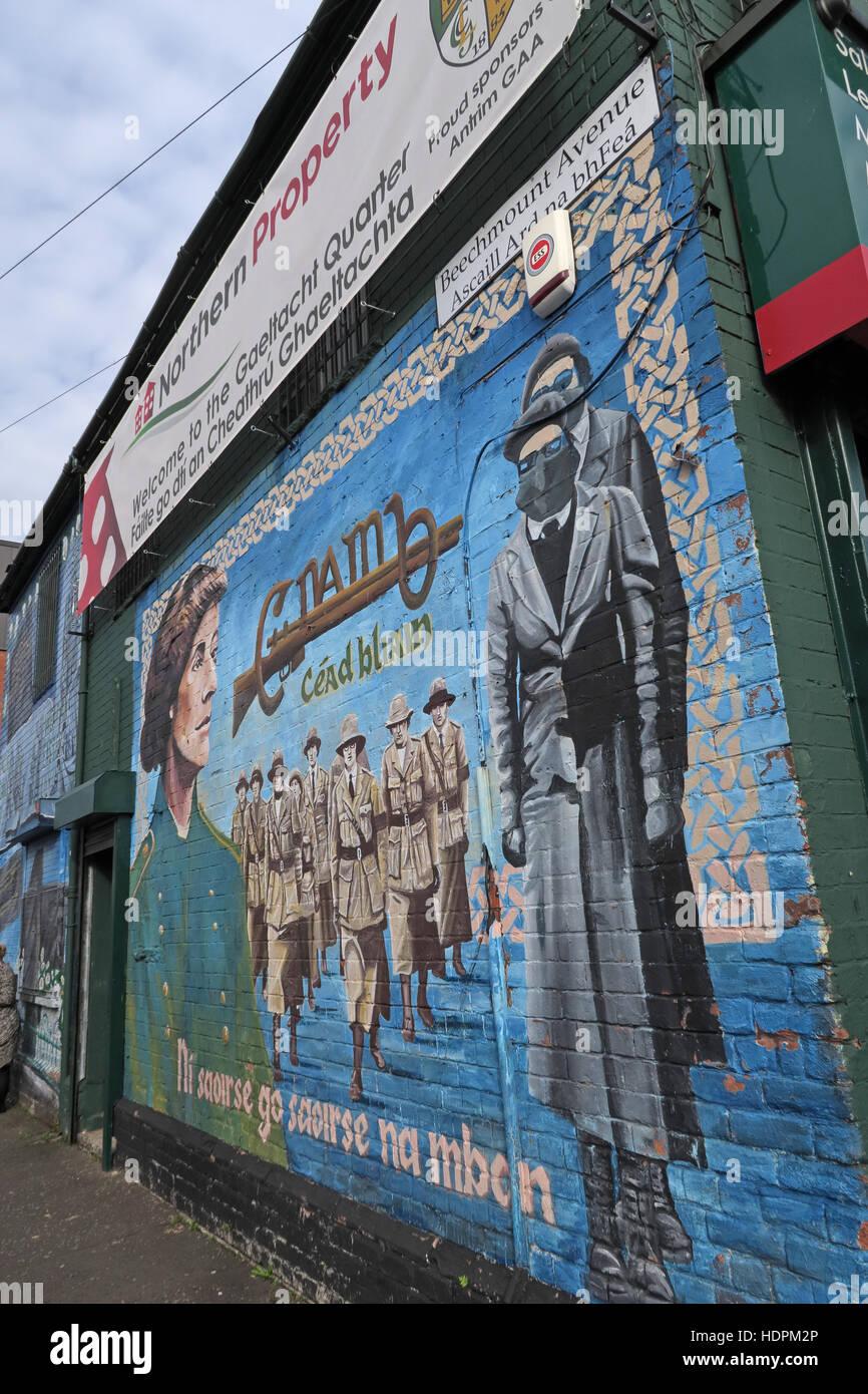 Laden Sie dieses Alamy Stockfoto Belfast fällt Rd republikanischen Wandbild am Beechmount Ave, weibliche Widerstand - HDPM2P