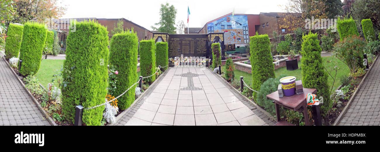 Laden Sie dieses Alamy Stockfoto Panorama der Falls Road, Garten der Erinnerung, IRA-Mitglieder getötet, auch verstorbenen Ex-Häftlinge, West Belfast, NI, UK - HDPMBX