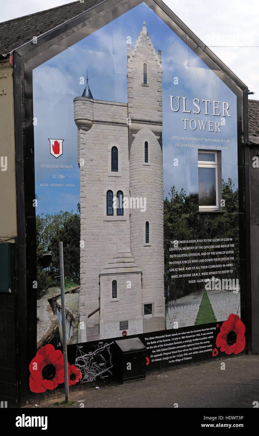 Laden Sie dieses Alamy Stockfoto Ulster Turm Wandbild aus Shankill Road West Belfast, Nordirland, Vereinigtes Königreich - HDWT3P