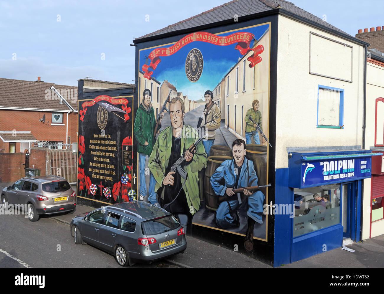 Laden Sie dieses Alamy Stockfoto UFF Freiwilligen Unionist Wandbild aus Shankill Road West Belfast, Nordirland, Vereinigtes Königreich - HDWT62