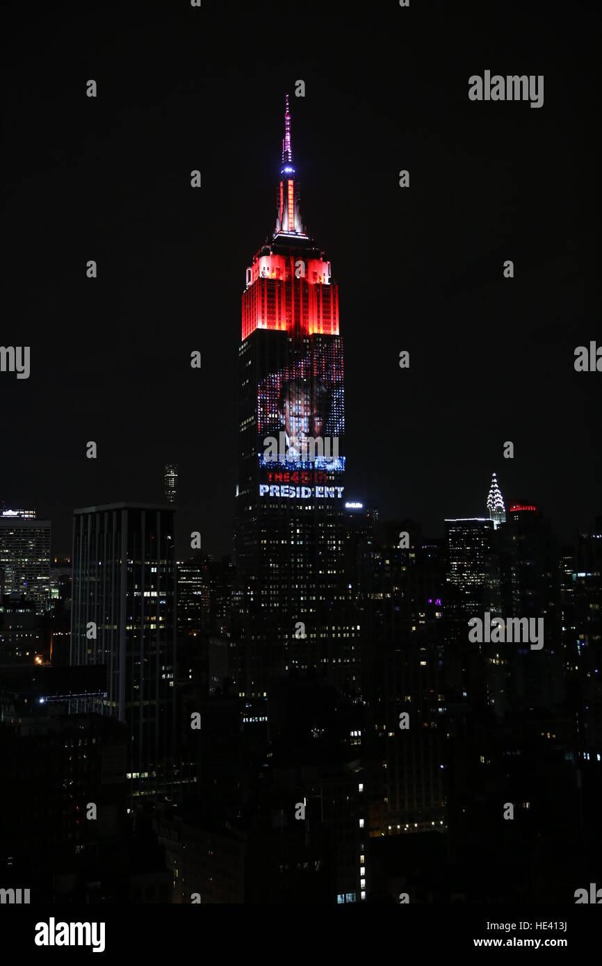 Donald Trump wird 45. Präsident von der Vereinigte Staaten von Amerika gewählt, wie auf das Empire State Stockbild